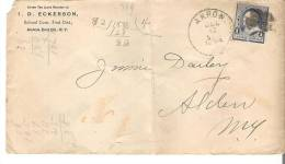Cover Envelop D. Eckerson School Com. First Dist., Akron, Erie Co., New York 1 Cent 1894 - 1847-99 General Issues