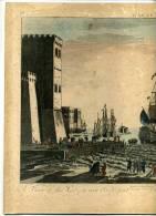 - A VIEW OF THE GERZAY NEAR IDE PART . VUE DU PORT DE GERZAY . VUE D´OPTIQUE . EAU FORTE DU XVIIIe S. COLLEE SUR CARTON - Kunst