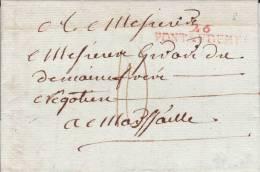 EURE - AN12 - LETTRE De PONT AUDEMER Avec MARQUE LINEAIRE 41X8 En ROUGE - IND8 - 1801-1848: Precursori XIX