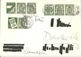 B124 Zusammendrucke Mit Werbung(Radio/Bekleidung/ Briefmarkenkatalog) 1937 Nach Dresden - Belgien