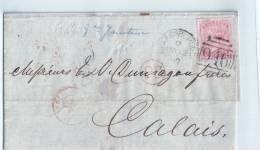LETTRE D' ANGLETERRE - Entrée En France, Pour CALAIS - 1840-1901 (Victoria)