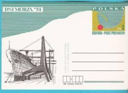 Poland 1974,postcard Entire,Gdansk Harbour Port Sea Days Ship Bateau - Boten