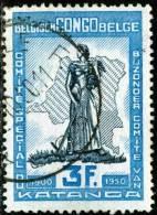 BELGIAN CONGO, CONGO BELGA, 1950, COMMITTEE KATANGA, FRANCOBOLLO USATO, Scott 259 - 1947-60: Usados