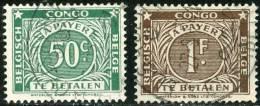 BELGIAN CONGO, CONGO BELGA, 1943, SEGNATASSE, FRANCOBOLLI USATI, Scott J10,J11 - Congo Belga