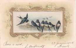 21130 Peinture Sur Soie, Oiseau Hirondelle Hirondelles . 1905 -cadre Doré En Relief