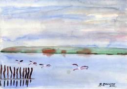 Aquarelle Sur Papier - Camargue - Signé : R. Pauleau  (VP 448) - Aquarelles