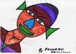 Aquarelle Sur Papier - Coeur Sens Dessus Dessous - Signé : R. Pauleau  (VP 449) - Aquarelles