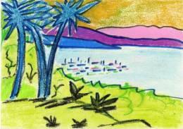Pastel  Anonyme Sur Carton - Cote D' Azur  (VP 454) - Pastels