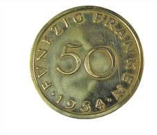Sarre - 50 Francs - 1954 - Cup.Alu - TB+ - Saarland