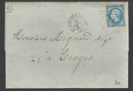 FRANCE 1866 N° 22 Obl. S/Lettre GC 3554 St. Claude S/Brienne - 1862 Napoleon III