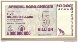 Zimbabwe - Banconota Non Circolata Da 5.000.000.000 Dollari - 2008 - Zimbabwe