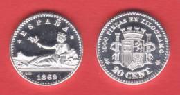 ¡¡¡VERY RARE!!! España/Gobierno Provisional  20 Céntimos 1.869#6-9 KM#650(Y55) SC DL-10.035 Uk REPLICA - [ 1] …-1931 : Reino