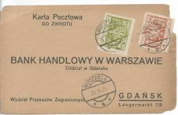 25.III.1924 COMMERCIAL BANK  WARSAW --GDANSK  MONEY TRANSFER FORM - 1919-1939 Republic