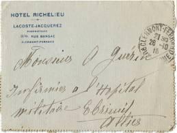 Carte Lettre En FM - Hotel RICHELIEU - LACOSTE-JACQUEREZ- CLERMONT FERRAND 1915 - Militaria