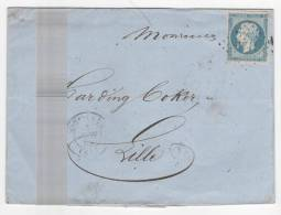 Lettre De DORNACH, Haut Rhin,du 5 Juin 1855+ PC 1124 Sur Empire N° 14 A F,BLEU LAITEUX + 2 Ambulants > Lille, TB - Storia Postale