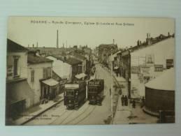 42 LOIRE ROANNE RUE DE CLERMONT EGLISE SAINT LOUIS ET RUE BRISSON VOYAGEE BON ETAT - Roanne