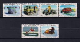 TERRITORIOS DE ROSS, YVERT 72/77**, TRANSPORTES, VEHICULOS PARA LA NIEVE, AVIONES, HELICÓPTEROS - Dependencia Ross (Nueva Zelanda)
