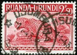 RUANDA URUNDI, 1942, FAUNA, ANIMALI, LEOPARDO, FRANCOBOLLO USATO, Scott  81, YT 139, Bel 139 - Ruanda