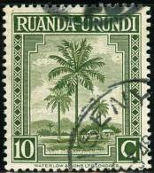 RUANDA URUNDI, 1942, FLORA, PALME, FRANCOBOLLO USATO, Scott YT 127 Michel 80, Bel 127 - Ruanda