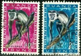RUANDA URUNDI, 1961, FAUNA, ANIMALI, SCIMMIE, PROTECTED ANIMALS, FRANCOBOLLI USATI, Scott 139,143 - Ruanda