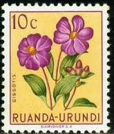 RUANDA URUNDI, 1953, FLORA, FIORI, FLOWERS, DISSOTIS, FRANCOBOLLO NUOVO (MLH*), Scott 114, YT 177, Bel. 177 - Ruanda