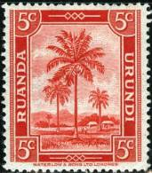 RUANDA URUNDI, 1942, FLORA, PALME, FRANCOBOLLO NUOVO (MLH*), Scott 68, YT 126, Bel 126, Michel 79 - Ruanda