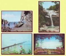 DPR North Korea - 4 Propaganda Postcards, Waterfall, Bridges, Tourism, Folk Balet - Korea, North