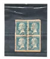 FRANCE    Bloc De 4 Timbres 1fr  Pasteur  (Dents Abîmées)       (sur Fragment Oblitérés) - 1922-26 Pasteur