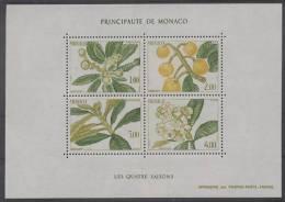 Monaco (1985) Yv. Bf. 31  /  Flore - Fruits - Flowers - Fleurs - Arbre - Trees - Seasons - Fruits