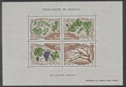 Monaco (1987) Yv. Bf. 38  /  Flore - Fruits - Flowers - Fleurs - Seasons - Grapes - Wine - Fruits