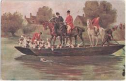 Hubertus Jagd 3 Reiter Und Die Hundemeute Auf Der Fähre über Den Fluss Color Ungelaufen Hunting Dog Horse In A Ferry - Chevaux