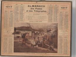 """CALENDRIER  ALMANACH Des POSTES Des TELEGRAPHES """"LES POILUS LAVENT LEUR LINGE """""""" - Kalender"""