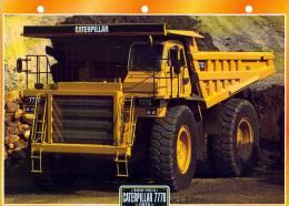 FICHE CARTONNE 25x18.5 CM CAMION DOC.AU DOS VOIR SCAN SERIE TRAVAUX PUBLICS 1975 CATERPILLAR 777D - Camion