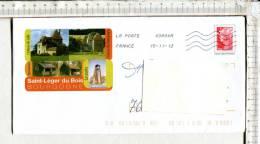 ENVELOPPE  PRE TIMBREE - OBLITEREE - Illustration   :  SAINT LEGER DU BOIS  -  Bourgogne - 1989-....