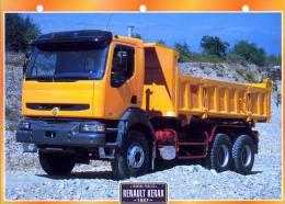 FICHE CARTONNE 25x18.5 CM CAMION DOC.AU DOS VOIR SCAN SERIE TRAVAUX PUBLICS 1997  RENAULT KERAX - Camions