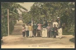 TRES BELLE C.P.A COULEUR GLACEE - 120. - CHOLON. - Miliciens Annamites - TRES ANIMEE - Vietnam