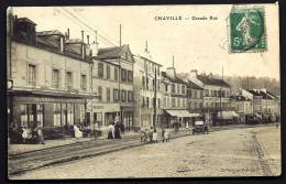CPA  ANCIENNE- FRANCE- CHAVILLE (92)- LA GRANDE RUE AVEC BELLE ANIMATION- VIEILLE AUTO- BILLARD- COMMERCES- GROS PLAN - Chaville