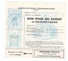 FRANCHISE MILITAIRE - BON POUR UN PAQUET - FRANCHISE POSTALE - 1970. - Documents