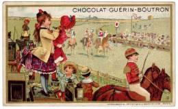 """Chromo """"Chocolat Guerin-Boutron"""" : Les Courses (chevaux) - Guérin-Boutron"""