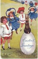 Easter Greetings, Children Egg Rabbit, Doane Cancel Postmark, C1900s Vintage Tucks Oilette Series 2324 Postcard - Pâques