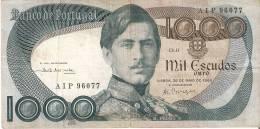 BILLETE DE PORTUGAL DE 1000 ESCUDOS  DEL AÑO 1968 SERIE AIP (BANKNOTE-BANK NOTE) - Portugal