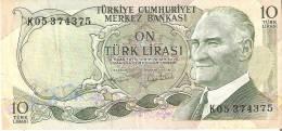 BILLETE DE TURQUIA DE 10 LIRASI DEL AÑO 1970    (BANKNOTE) - Turquia