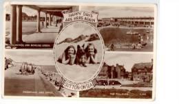 POSTCARD SUTTON ON SEA LINCOLNSHIRE ALSATION DOG MULTI VIEW BW 1950 CIRCA - England