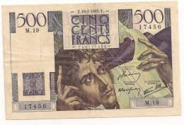 500 FRANCS CHATEAUBRIAND 1945 M 19 - 1871-1952 Circulated During XXth