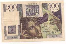 500 FRANCS CHATEAUBRIAND 1945 M 19 - 1871-1952 Gedurende De XXste In Omloop