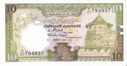 BILLETE DE SRY LANKA DE 10 RUPEES DEL AÑO 1987 SIN CIRCULAR-UNCIRCULATED (BANKNOTE) - Sri Lanka
