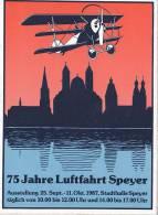 Aufkleber: Dreifachdecker über Speyer, 75 Jahre Luftfahrt Speyer, Ausstellung 1987 - Aufkleber