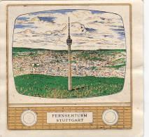 Abzeihbild; Stuttgart, Fernsehturm, Im Stil. Fernsehgerät, Um 1962 - Souvenirs