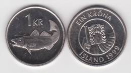 Islandia 1 Corona 1.999 Niquel Acero KM#27a SC/UNC    T-DL-10.212 - Islandia
