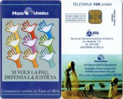 Telefonkarte Andorra - Mans Unides  -  02/2001 - Aufl. 20000 - Andorra